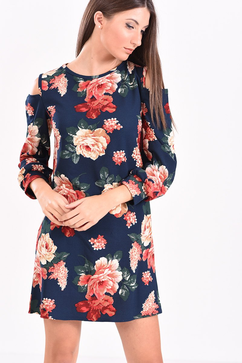 76a13cae888a Μίνι φόρεμα με μακρύ μανίκι και άνοιγμα στους ώμους φλοράλ μπλε