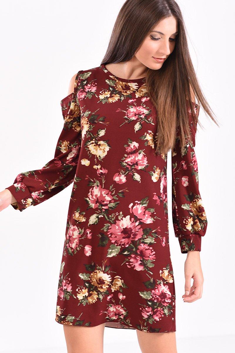 909cc9e1b88a Φόρεμα κοντό με άνοιγμα στους ώμους φλοράλ μπορντό