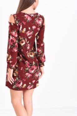 Φόρεμα μίνι φλοραλ σε μπορντό αποχρώσεις
