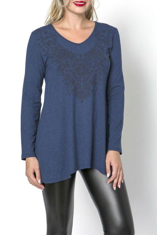 Μπλούζα μακρυμάνικη με λαιμόκοψη μπλε