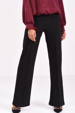 μαύρη παντελόνα κρεπ με ραφή