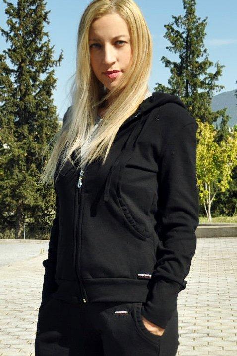 Ζακετα φόρμας με κουκούλα μαύρη