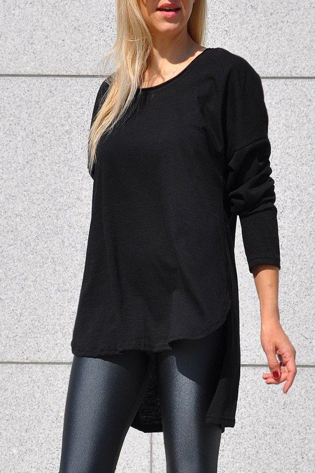 Γυναικεία Μακρυμάνικη Μπλούζα Μαύρη Μακριά Πίσω - Τιμή ΣΟΚ  11 3b6121816c0