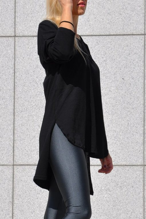 Μπλούζα μακρυμάνικη ασύμμετρη μαύρη