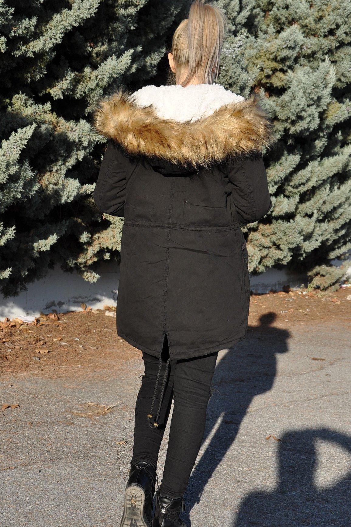 Μπουφάν παρκά με γούνινη κουκούλα μαύρο - πίσω όψη
