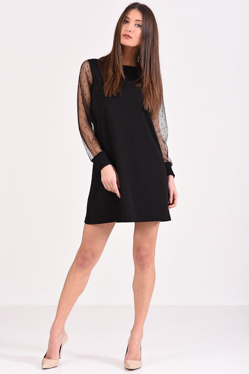 efe78688f0f7 Κοντό φόρεμα μαύρο με μανίκι από πουά διαφάνεια σε άλφα γραμμή