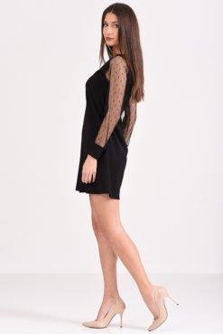Φόρεμα κοντό σε άλφα γραμμή με μανίκι από πουά διαφάνεια
