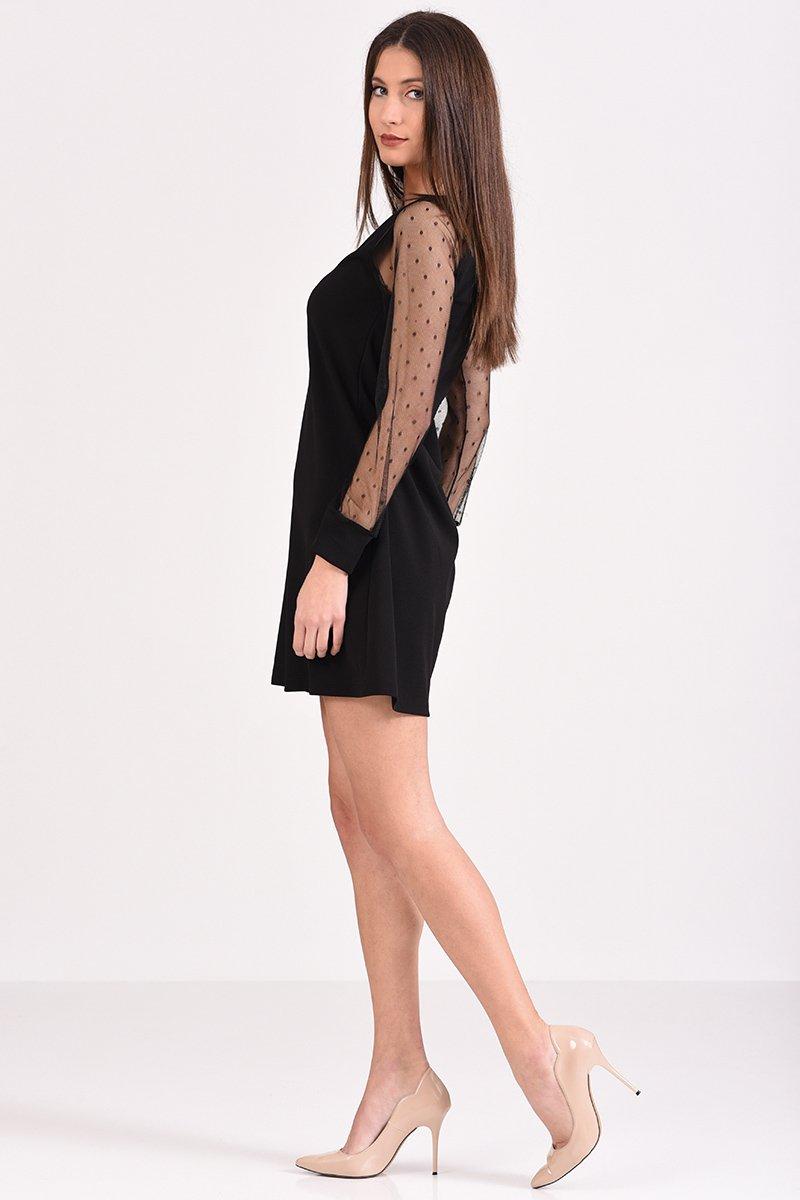 Κοντό φόρεμα μαύρο με μανίκι από πουά διαφάνεια σε άλφα γραμμή 59eb4f66b2c