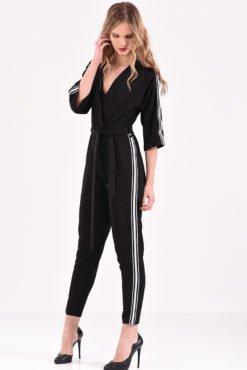 Ολόσωμη κρουαζέ φόρμα μαύρη με ρίγες στο πλάι