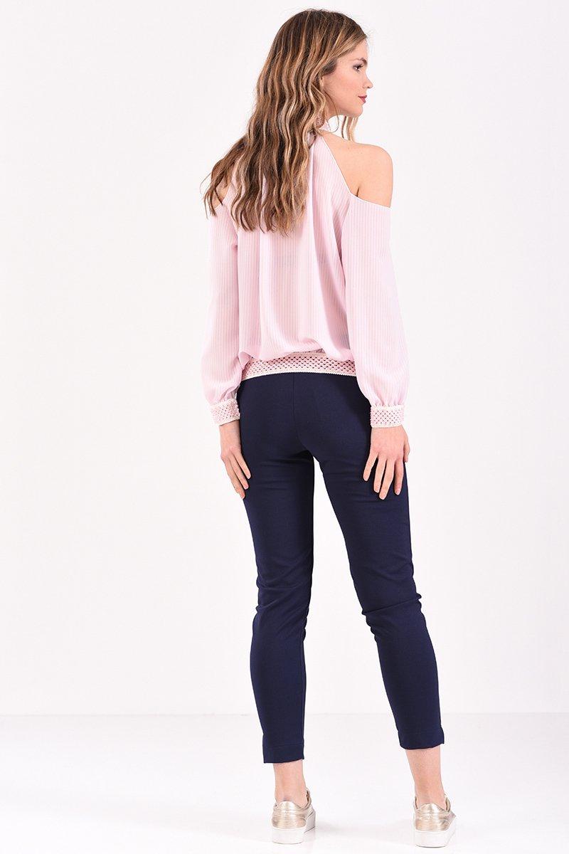 2267618b2a65 Μπλούζα με έξω ώμους και λάστιχο εμπριμέ σε ροζ χρώμα