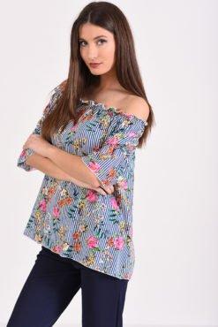 Μπλούζα με έξω ώμους ριγέ (μπλε άσπρο) με λουλούδια