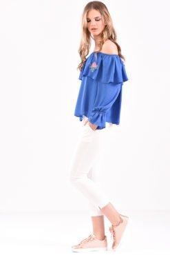 Μπλούζα με έξω ώμους βολάν και κέντημα σε ίντιγκο χρώμα