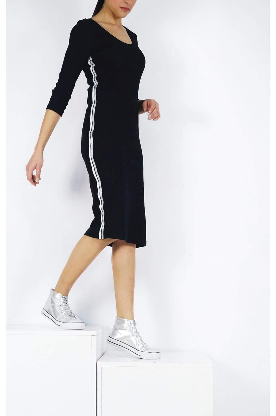 Midi φόρεμα μακρυμάνικο σε στενή γραμμή με ρίγα στο πλάι σε μαύρο χρώμα fe6729a6c67