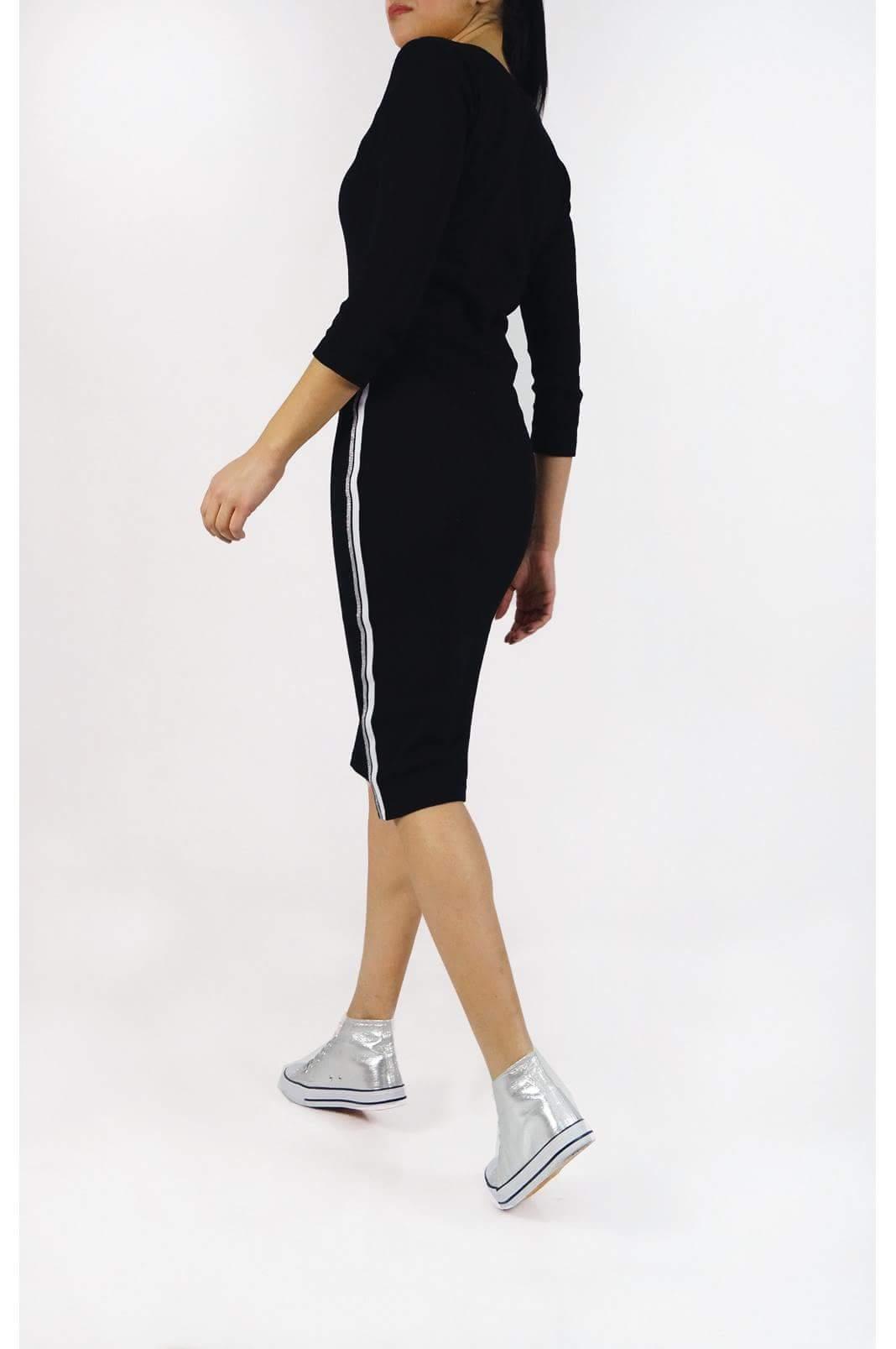 Midi φόρεμα μακρυμάνικο σε στενή γραμμή με ρίγα στο πλάι σε μαύρο χρώμα 19269a66d62