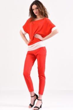 Μπλούζα κόκκινη με εκρού φάσα