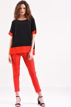 Μπλούζα μαύρη με κόκκινη φάσα
