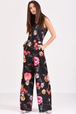 Ολόσωμη φόρμα φλοράλ αμάνικη με τσέπες σε μαύρο χρώμα