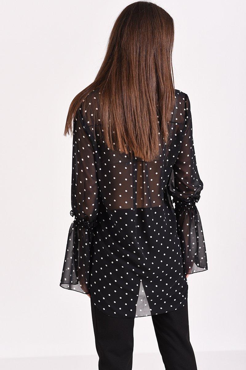 7a342cb5c1a9 Γυναικείο πουκάμισο πουά μαύρο με μακρύ μανίκι καμπάνα