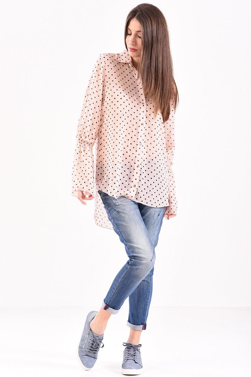 8171ff25c3b9 Γυναικείο πουκάμισο πουά με βολάν στο μανίκι σε nude χρώμα