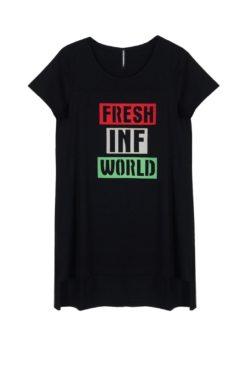 """Ασύμμετρο t-shirt με τύπωμα """"fresh"""""""