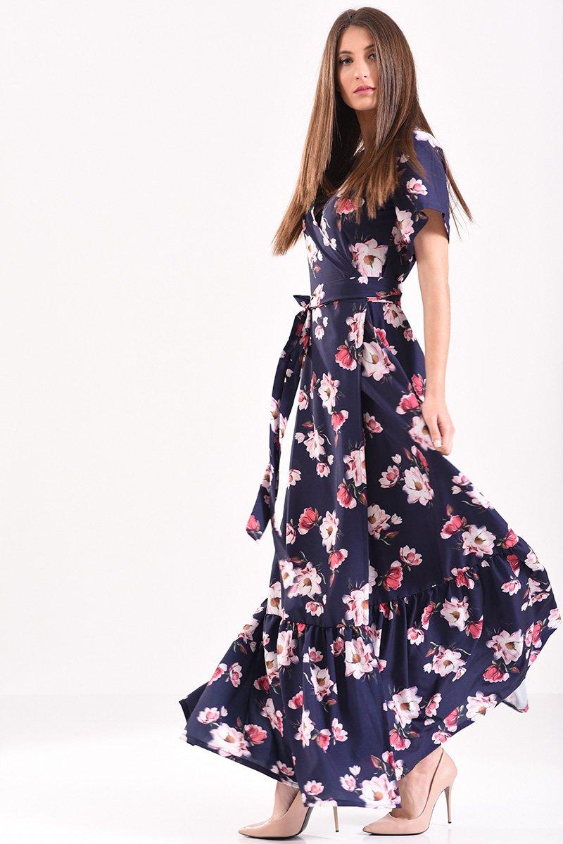 efa80f4a739 Μακρύ φόρεμα κρουαζέ φλοράλ σε μπλε αποχρώσεις με βολάν στο τελείωμα