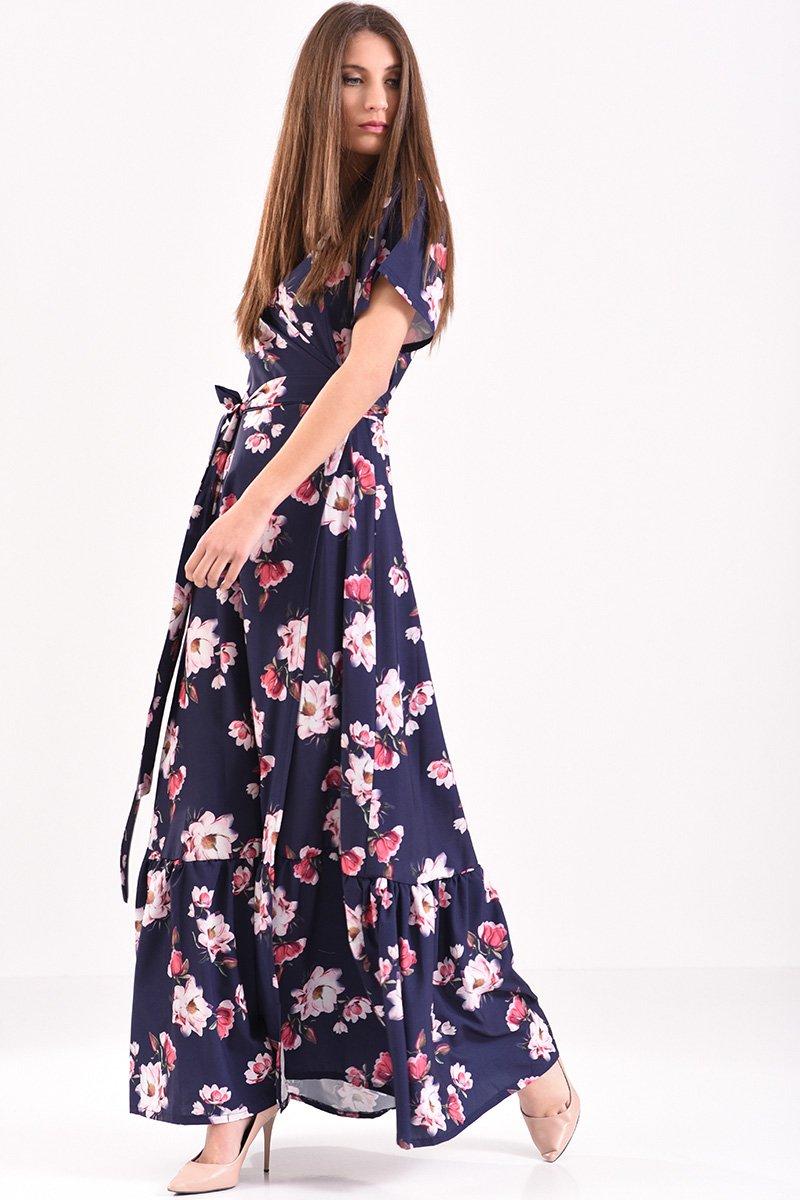 bff9a645210d Μακρύ φόρεμα κρουαζέ φλοράλ σε μπλε αποχρώσεις με βολάν στο τελείωμα