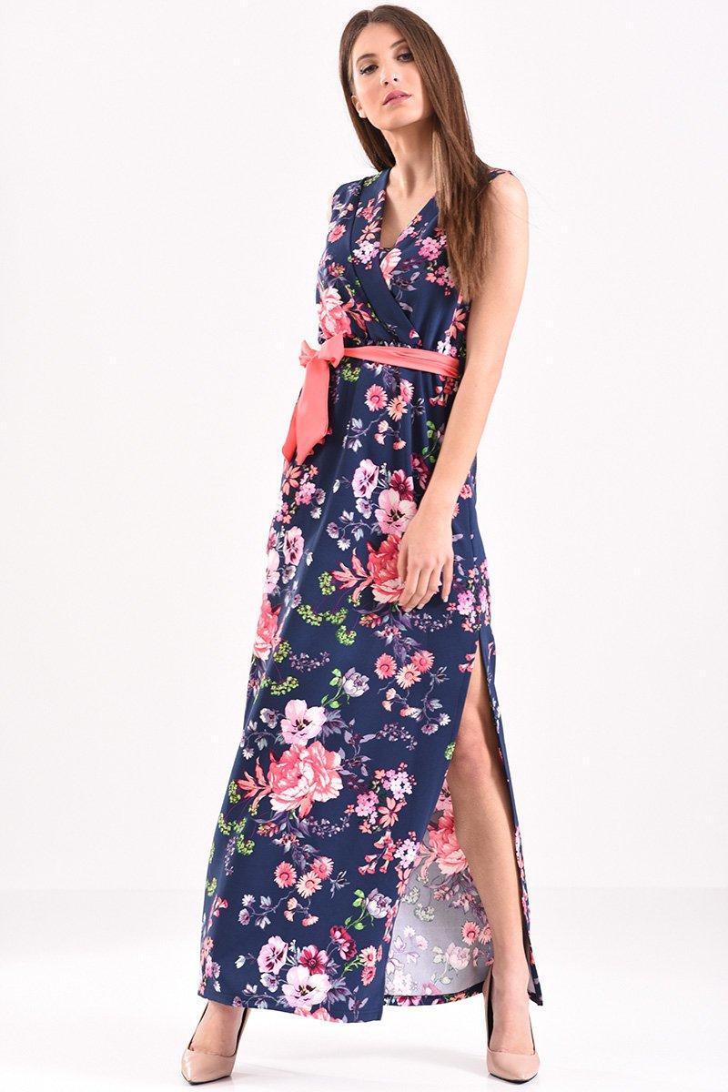 c84defe5a33 Μάξι φόρεμα κρουαζέ, αμάνικο, φλοράλ με ζώνη σε μπλε αποχρώσεις