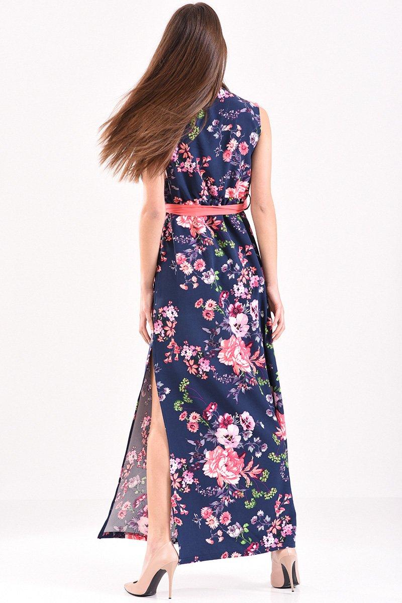1a6976c50e79 Φόρεμα κρουαζέ μακρύ αμάνικο φλοράλ με ζώνη