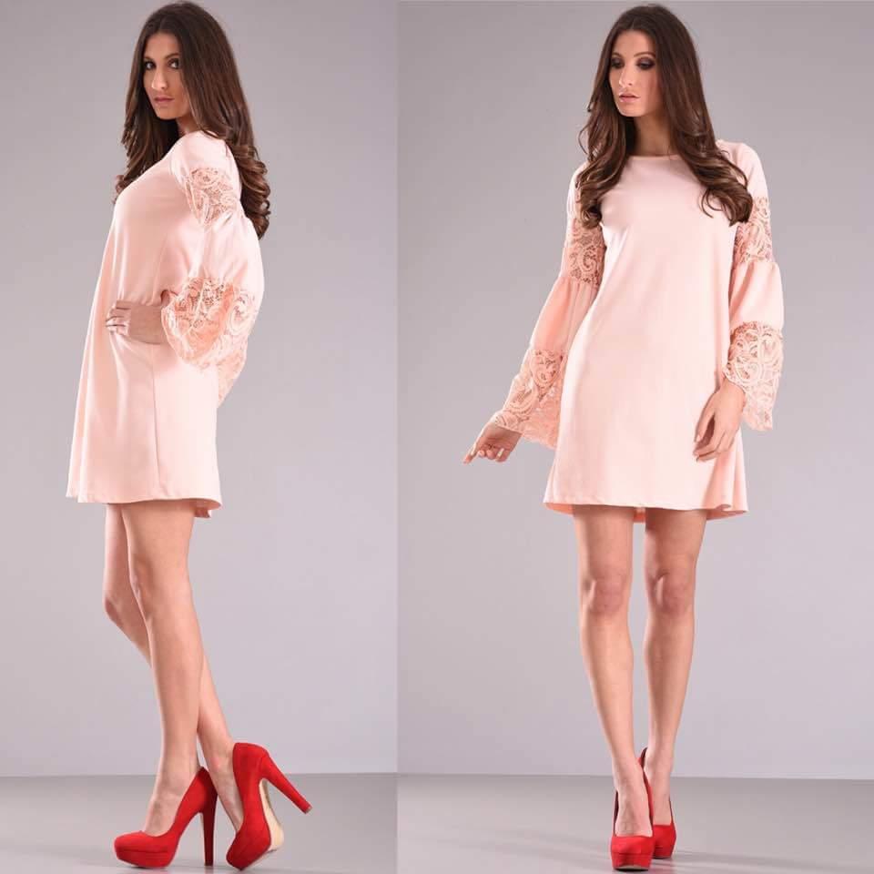 1c2782b0fdc8 Ροζ φόρεμα με δαντέλα στα μανίκια. – Pick Store