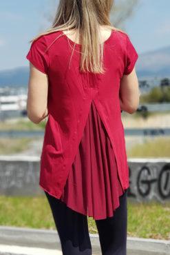 Μπλούζα ασύμμετρη με διαφάνεια πίσω σε μπορντό