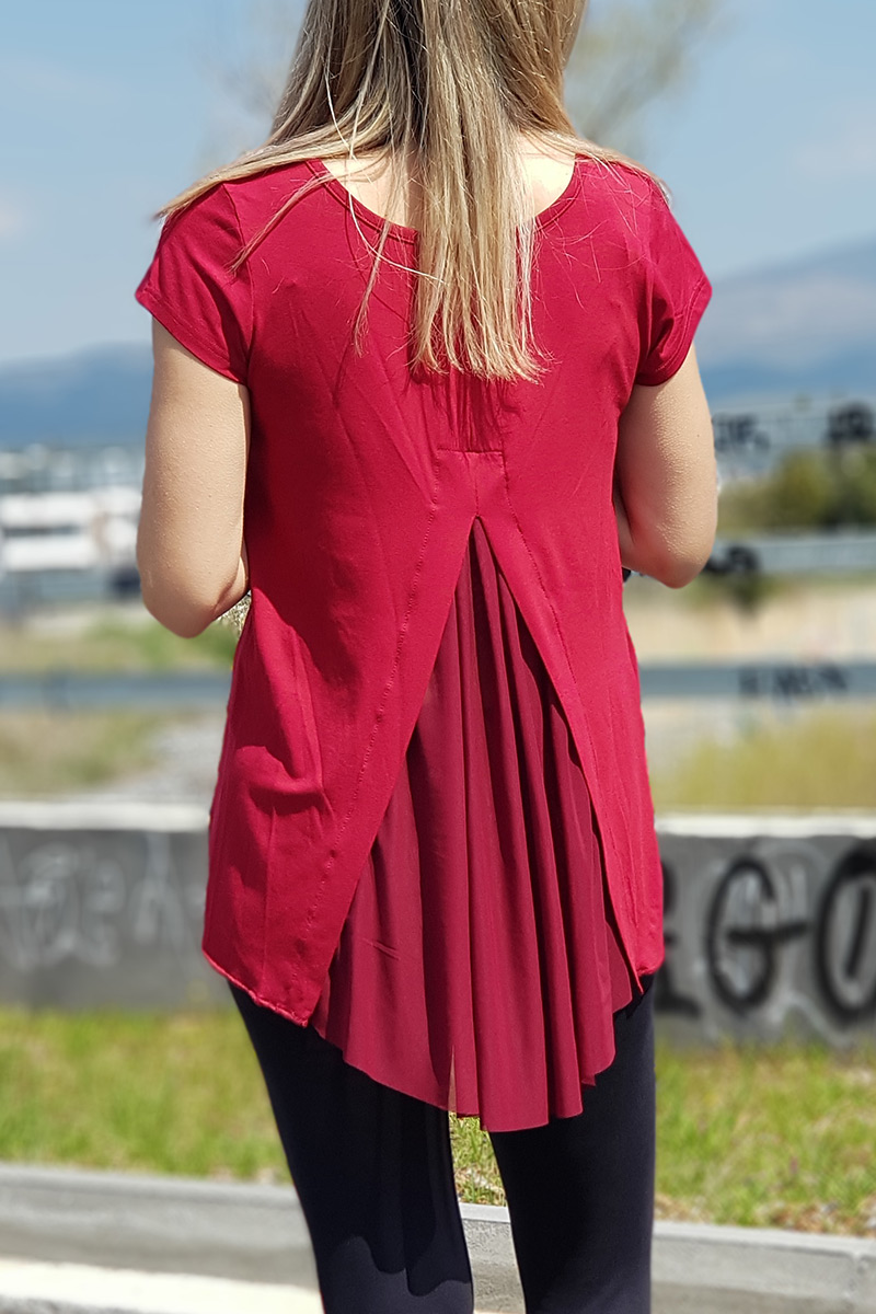 813ca01bdee5 Μπλούζα ασύμμετρη με διαφάνεια πίσω σε μπορντό – Pick Store