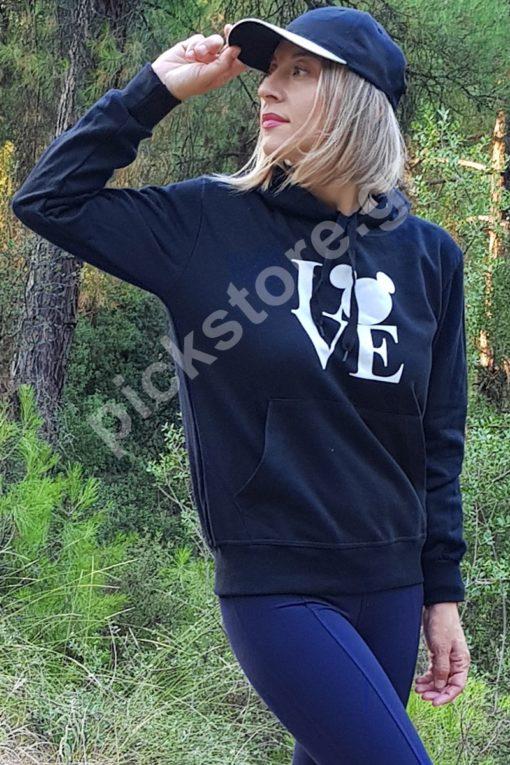 Γυναικεία μπλούζα φούτερ μαύρη με στάμπα και κουκούλα