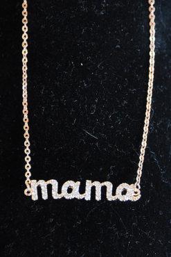"""Βραχιόλι ατσάλινο """"μαμά"""" με στρασάκια σε ροζ-χρυσή απόχρωση"""