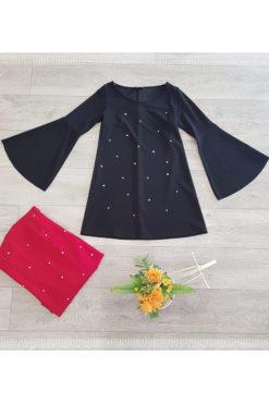 Φόρεμα κοντό με πέρλες σε άλφα γραμμή