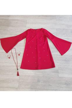 Φόρεμα κοντό με πέρλες σε άλφα γραμμή κόκκινο