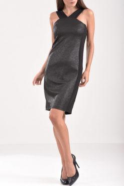 Φόρεμα κοντό με ανάγλυφη δερματίνη μαύρο