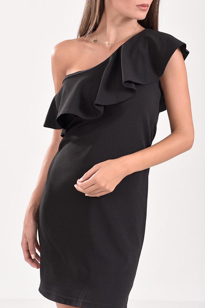 8c9e3fedab94 Φόρεμα ελαστικό pencil με έναν ώμο και βολάν σε μαύρο χρώμα