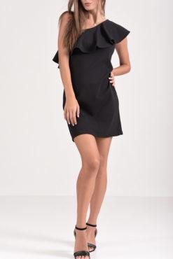 Φόρεμα ελαστικό pencil με έναν ώμο και βολάν σε μαύρο