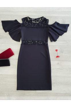 Φόρεμα με ανοιχτούς ώμους και πουά διαφάνειες μαύρο