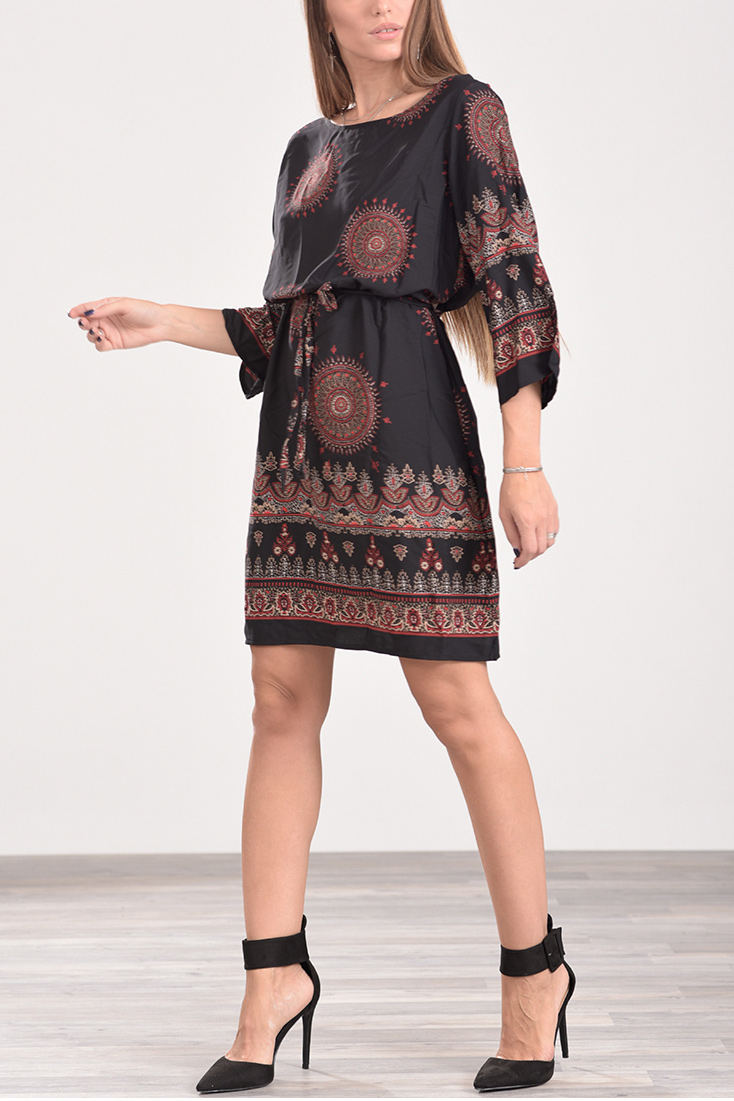 883fbf54b493 Φόρεμα κοντό με ζωνάκι στη μέση