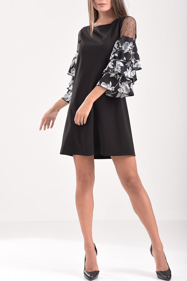 19dbc207258c Κοντό φόρεμα με βολάν και πουά διαφάνεια στα μανίκια σε μαύρο χρώμα