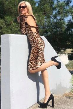 Φόρεμα pencil με ανοιχτή πλάτη σε animal print