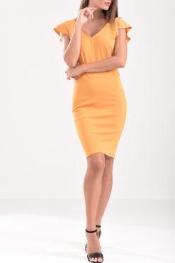 Φόρεμα pencil με V μπρος πίσω και βολάν μανίκι σε ώχρα