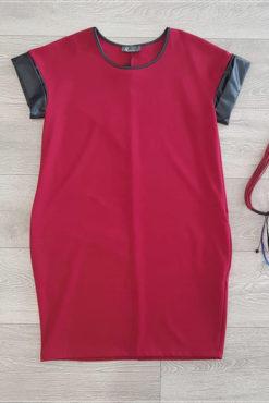 Φόρεμα σάκος με λεπτομέρειες από δερματίνη