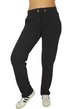 Γυναικείο παντελόνι φούτερ σε ίσια γραμμή μαύρο