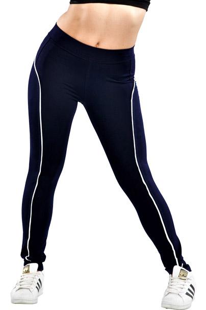 Κολάν dry-fit, ψηλόμεσο με λεπτή ρίγα στο πλάι μπλε σκούρο