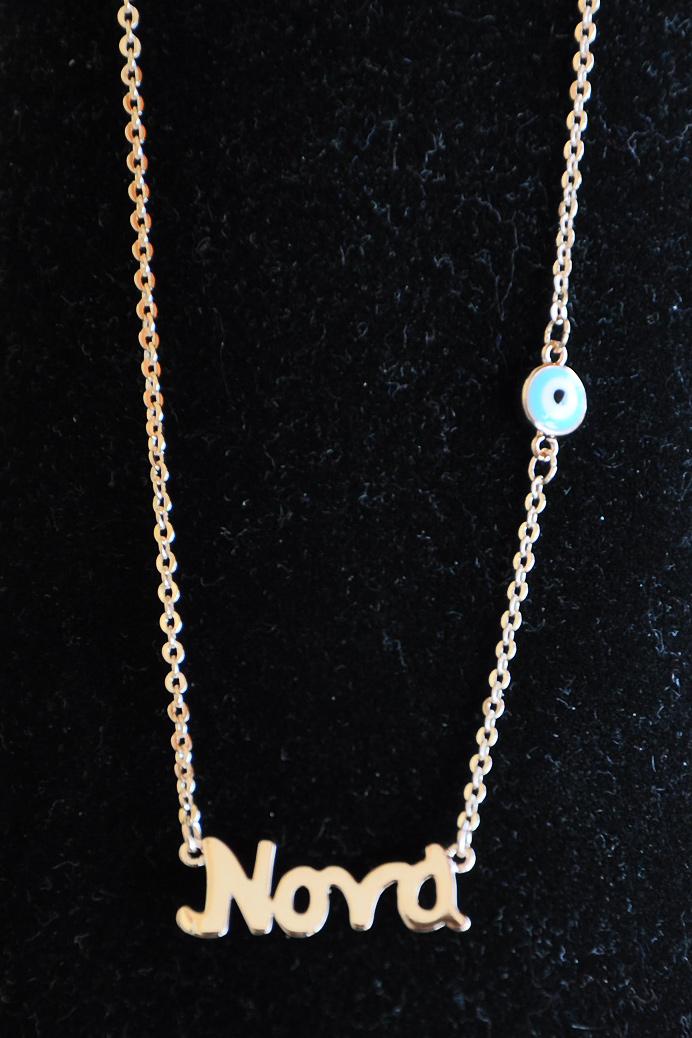 Κολιέ νονά ατσάλινο με ματάκι σε ροζ-χρυσή απόχρωση – Pick Store b70216736b6