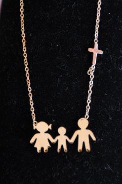 Κολιέ οικογένεια ατσάλινο με μαμά, μπαμπά, γιό σε ροζ-χρυσή απόχρωση