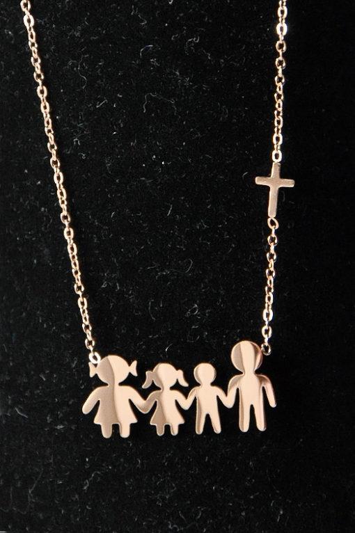 Κολιέ οικογένεια ατσάλινο - μαμά, μπαμπάς, κόρη, γιός