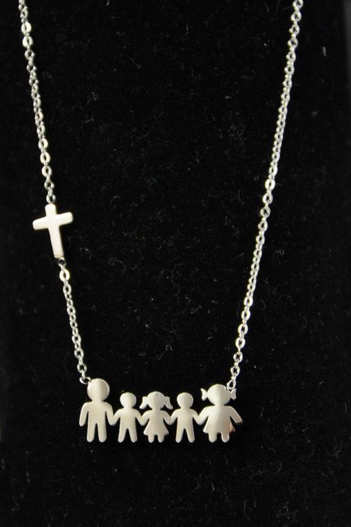 Κολιέ οικογένεια ατσάλινο μαμά, μπαμπάς, κόρη, 2 γιοι